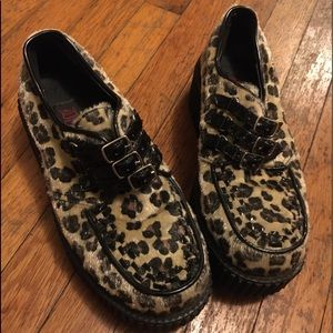 Demonia Leopard Vinyl Creeper Size 7 Womens
